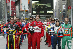 Scott Sharp, Sam Hornish Jr. and Tony Kanaan lead the field for the 89th Indianapolis 500