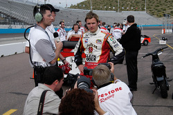 Wheldon faces the media