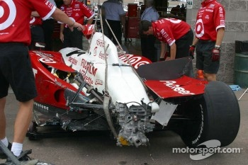 Jaques Lazier's damaged car