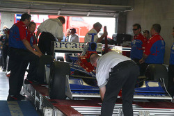 Dario Franchitti's car goes through tech inspection