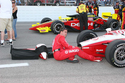 Team Target crew member makes last minute adjustments