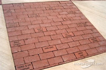 $50 donor bricks at front entrance, including some famous contributors