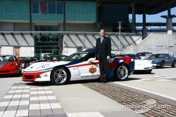 Chevrolet General Manager Ed Peper with the 2006 Chevrolet Corvette Z06 that will pace the 90th Indianapolis 500