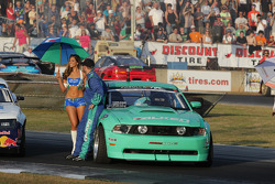 Justin Pawlak chats with the Falken umbrella girl during driver introduction