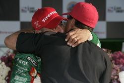Victory lane: race winner Tony Kanaan celebrates with Michael Andretti