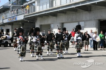 The Gordon Pipers on opening day of the 91st running of the Indy 500