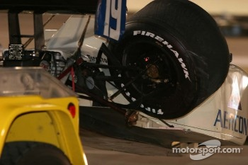 Jon Herb's brakes still glow red after the accident