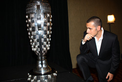 Dario Franchitti takes a quiet moment to look at his place among the legends on the Borg-Warner Trophy