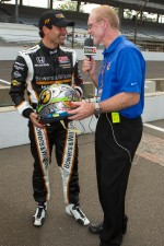 Pole winner Alex Tagliani, Sam Schmidt Motorsports talks about his Indy 500 helmet with Derek Daly