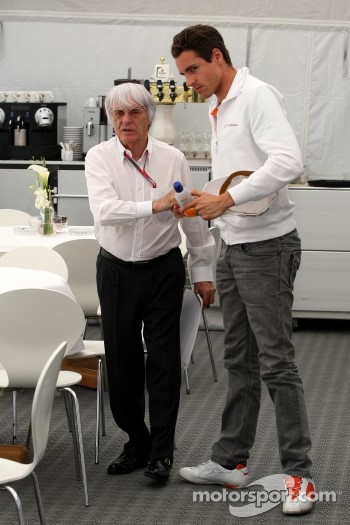 Bernie Ecclestone, talks with Adrian Sutil, Force India F1 Team