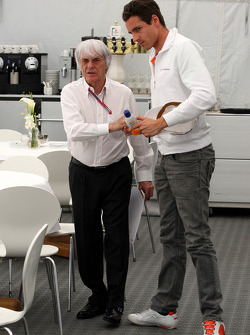 Bernie Ecclestone, talks with Adrian Sutil, Force India F1 Team