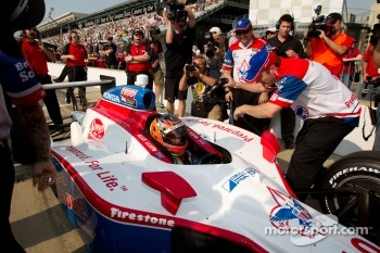 Alex Lloyd, Dale Coyne Racing celebrates qualifying for the race after a last-minute attempt
