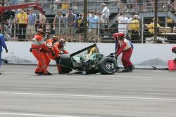 Wrecked car of EJ Viso, KV Racing Technology-Lotus