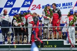 LMP1 podium: race winners Marcel Fässler, Andre Lotterer, Benoit Tréluyer, second place Pedro Lamy, Simon Pagenaud, Sébastien Bourdais, third place Nicolas Minassian, Franck Montagny and Olivier Quesnel