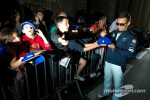 Christian Klien signing autographs after a long day at the 24 Hours of Le Mans