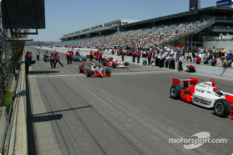 The opening ceremonies of the 86th running of the Indy 500 began with six previous Indy 500 winners taking a lap around the historic speedway