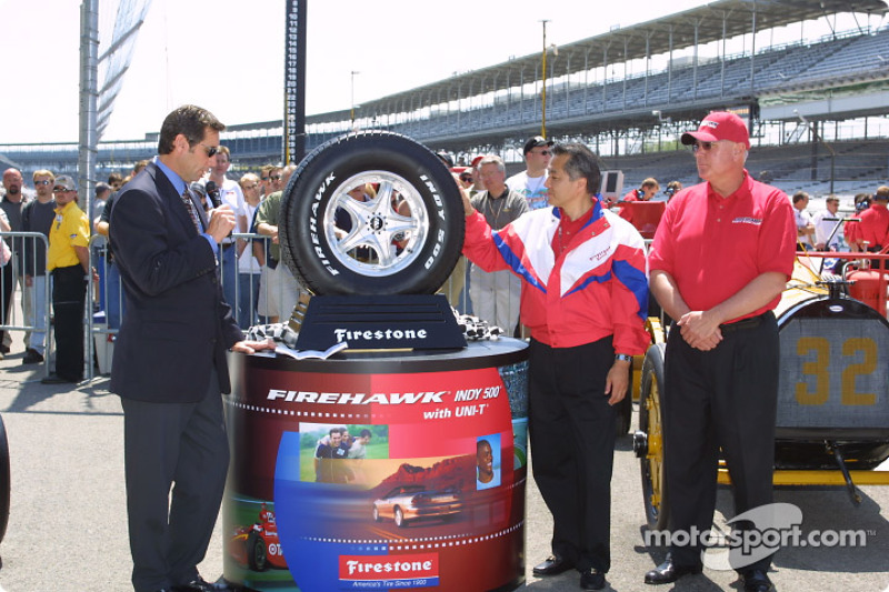 Tony George announcing that for the first time in the 90-year history of the Indianapolis 500, a tire for street and highway use will be given the honor of wearing the Indy 500 name and official logo