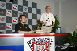 Sam Hornish Jr. receiving the First Quarter Driver of the Year Award during a press conference before the practice session