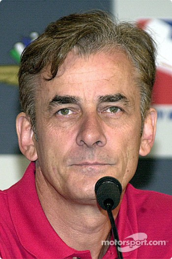 Arie Luyendyk holds a press conference