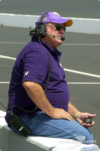 A.J. Foyt timing the lap