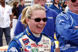 Sarah has a good laugh before the race