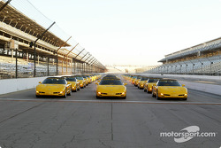 Rows of 2003 Chevrolet Corvettes on the famous yard of bricks