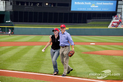 Visit at a Cincinnati Reds baseball game: Sarah Fisher and Scott Sharp