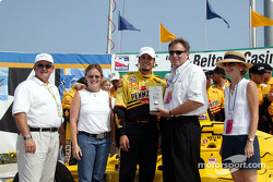 Race winner Sam Hornish Jr. receives Maurice Lacroix watch