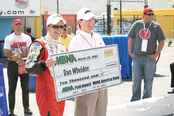 Dan Wheldon receives MBNA Pole Award check