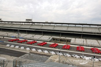 Chevrolet vehicles in formation at the Indianapolis Motor Speedway