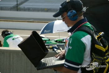 Team Rahal crew member checks data