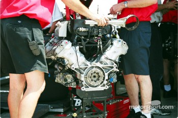 Bare engine in garage