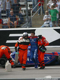 Dario Franchitti out of the car