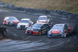 Sébastien Loeb, Team Peugeot Hansen; Mattias Ekström, EKS RX Audi S1; Petter Solberg, PSRX Citroën DS3 RX