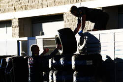 Pirelli tyres moved by Red Bull Racing mechanics