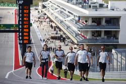 Romain Grosjean, Haas F1 Team and his team members during the track walk