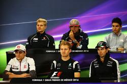 The FIA Press Conference (from back row (L to R)): Marcus Ericsson, Sauber F1 Team; Carlos Sainz Jr., Scuderia Toro Rosso; Esteban Ocon, Manor Racing; Esteban Gutierrez, Haas F1 Team; Nico Rosberg, Mercedes AMG F1; Sergio Perez, Sahara Force India F1.
