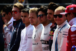 Sergio Perez, Sahara Force India F1 as the grid observes the national anthem