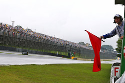 A red flag is hung as the race is stopped