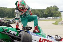 Mario Dominguez in the tire wall