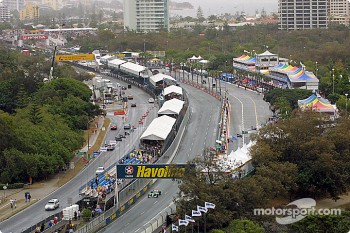 Aerial view of the pit straight