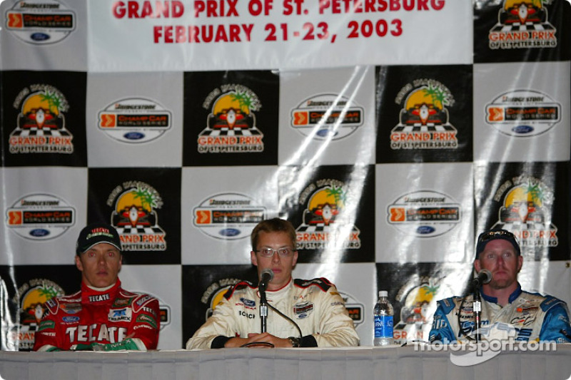 Press conference: pole winner Sébastien Bourdais with Adrian Fernandez and Paul Tracy