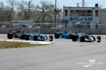 The start: Sbastien Bourdais leads Paul Tracy and Patrick Carpentier