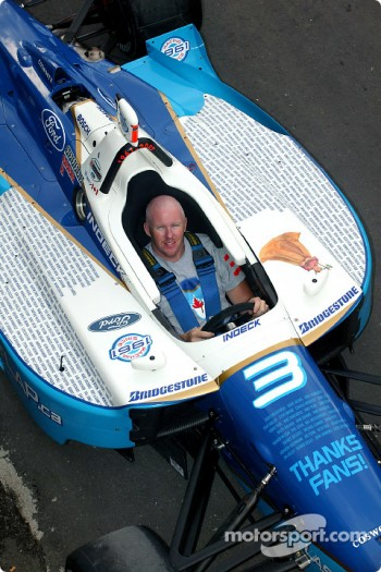 Paul Tracy in the 'Thanks Fans' car