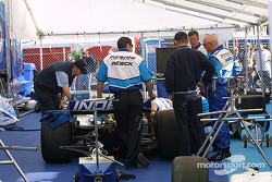 Paul Tracy in Forsythe Championship Racing paddock area