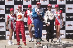 Podium: race winner Paul Tracy with Bruno Junqueira and Sébastien Bourdais