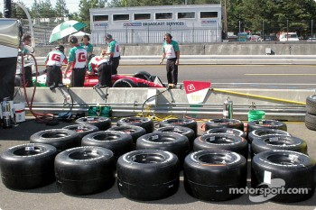 Tires laid out ready for Michel Jourdain Jr.