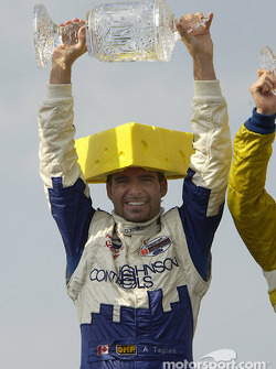 Podium: race winner Alex Tagliani