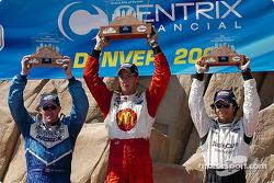 Podium: race winner Sébastien Bourdais with Paul Tracy and Bruno Junqueira