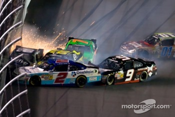Last lap crash exiting turn 4: Danica Patrick, JR Motorsport Chevrolet and Aric Almirola, JR Motorsport Chevrolet, Mike Wallace, Davis Chevrolet, Steve Wallace, Rusty Wallace Toyota, Elliott Sadler, Kevin Harvick Inc. Chevrolet, Tony Stewart, Kevin Harvic